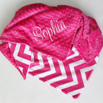 Personalized PINK CHEVRON MINKY Baby Stroller Blanket or Lovey with Fuchsia Pink Dot MInky