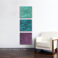 Mineral Abstract Painting / CUSTOM 3 square ( 15 Inch x 15Inch) / abstract Wall Art /  concrete/ AcryliCrete/ Sea-green, Green, Purple
