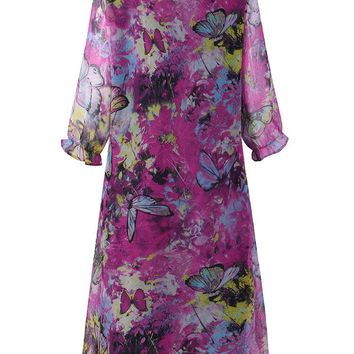 Multi-color Butterfly Print Dresses