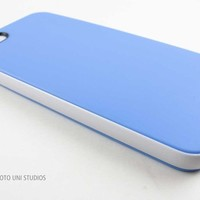 Apple iPhone 5 Baby Blue/White Smooth Slim TPU Gel Cover PC Bumper Hybrid Case