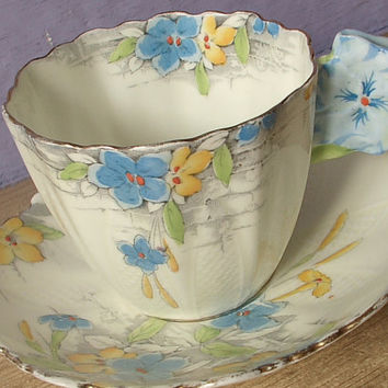 RARE Antique Royal Paragon flower handle tea cup and saucer set, vintage 1930's English tea cup, hand painted porcelain tea cup