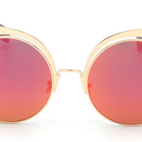 Women Round Rose Gold Sunglasses - Alloy Frame Round Sun Glasses