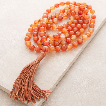 High-Energy Orange Agate Mala
