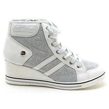 EpicStep Women's Glitter High Tops High Heel Wedges Shoes Casual Zip Velcro Fashion Sneakers