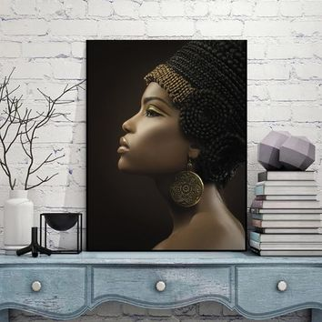 Queen Poster Black Women Paintings African Woman Poster Canvas Wall Art Home Wall Decor Art Oil Painting Picture Print