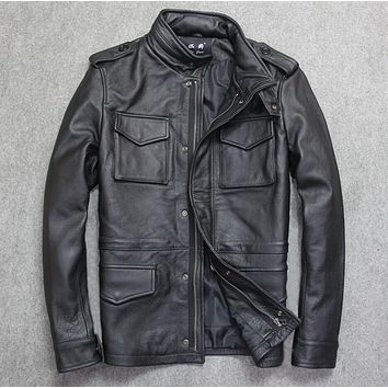 young men leather jacket first layer cow leather business casual leather jacket lapel Cowhide Leather Men thick short coat brown