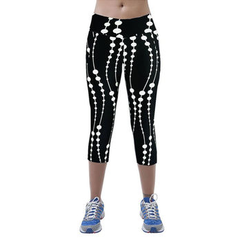 High Waist Fitness Printed Stretch Cropped Leggings