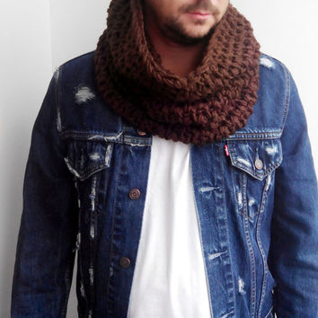 BROWN SCARF MENS Hand Crochet Scarf Soft Infinity Mens Braided Cable Boho Cowl Loop Crochet Slouchy Mens Scarf Slouch Beanie Hand Winter 890