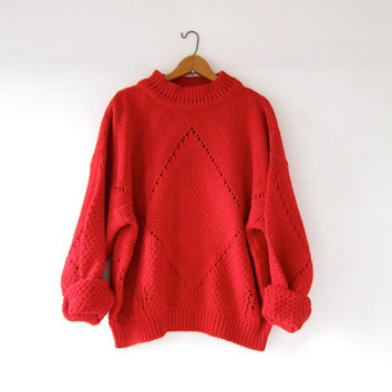 Best Red Chunky Sweater Products on Wanelo