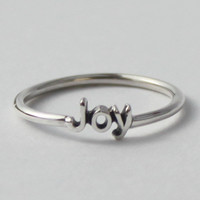 Joy Ring Sterling silver with poetic words by HeartCoreDesign