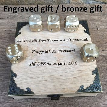 Bronze dices, dices, dice, dice set, dice box, bronze wedding, bronze anniversary gift, groomsman, groomsmen, board game, fun game gift