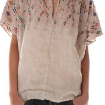 Magnolia Pearl Top 603 European Linen Embroidered Andi Cropped Poncho Top