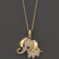Diamond Elephant Pendant Necklace in 14K Yellow Gold, .20 ct. t.w., 16.5""