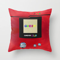 Retro Nintendo Gameboy pokemon pokeball pokedex Throw Pillow case by Three Second