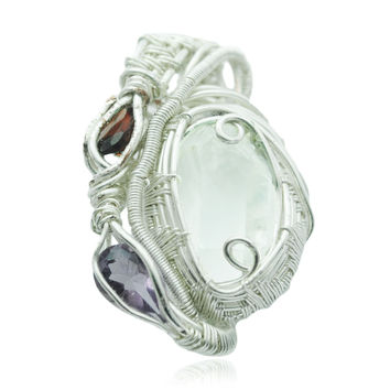 Faceted Herkimer Diamond and Amethyst Crystal Wire Wrap Pendant