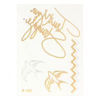 Wave Swallow Metallic Body Tattoo Sticker