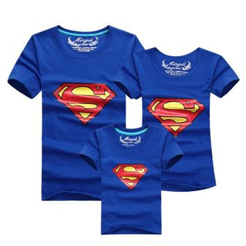 Superman Family Matching Outfits T-shirt Clothes For Dad Mon Daughter and Son 2015 Summer Father and Son Suits Top Clothing
