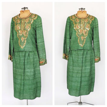 Rare Vintage 1960s Two Piece Suit Blazer Jacket Pencil Skirt Set Wool Tweed Ethnic Suit Fall Outfit Green Gold Embroidered Womens Suit India