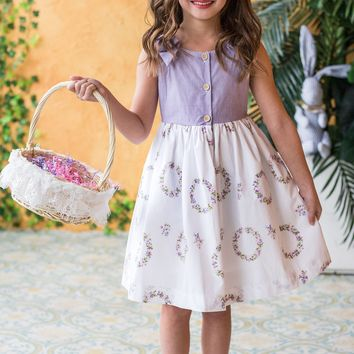 Lavender Striped Girls Easter Dress w. Floral Wreath Print 2T-10