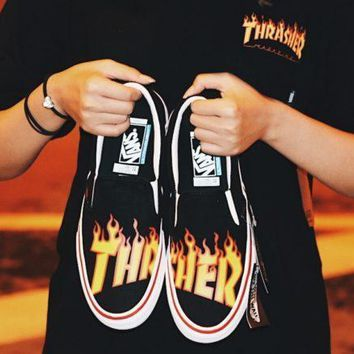 thrasher x vans slip on fashion men women casual shoes