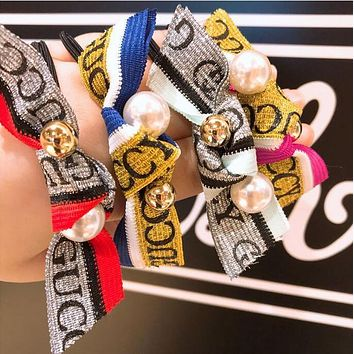 GUCCI Trending Women Stylish Simple Letter Pearl Bowknot Hair Rope Hair Band Accessories I13056-1