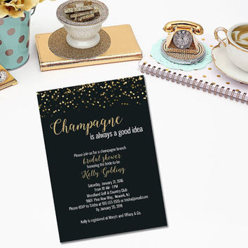 Champagne Brunch bridal shower Invitation/ Champagne Bridal Shower/ Black and Gold glitter invitation/ Bridal shower invitation