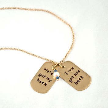 Hand Made Hand Stamped Pendant, Gold Chain and Gold Pendant, Pearl and Sapphire, Love Jewelry, Small Dog Tag Necklace, Metal Jewelry