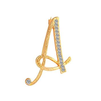 New Rhinestone Crystal Brooches Gold Color Initial Letter Brooch A-S lapel Pins and Brooch Name Jewelry For Mother's Day Gift