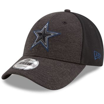 Men's Dallas Cowboys New Era Heathered Black/Black Shaded Front 9FORTY Adjustable Hat