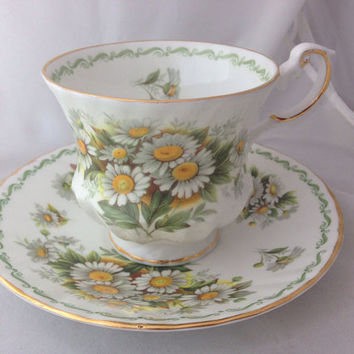 Rosina Queen's Pottery English Fine Bone China Vintage Teacup & Saucer Set -White Mums or Daisy - Chrysanthemums -  green white daisies