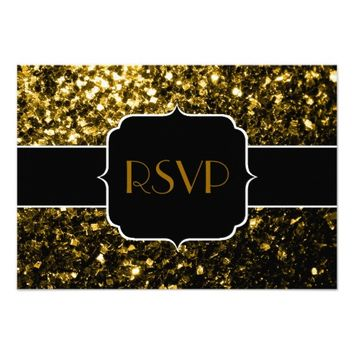 Beautiful Gold sparkles Sweet 16 RSVP horizontal 3.5x5 Paper Invitation Card