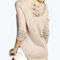 Khaki Bow Crochet Lace Back Long Sleeve Asymmetric T-shirt