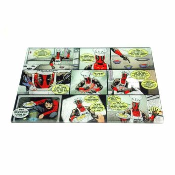 Deadpool Tempered Glass Cutting Board Bar Kitchen Carving Nerdy Geeky Funny Humor