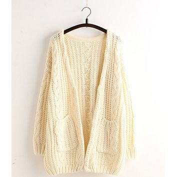 Cardigan Loose Sweater Pocket Buttoned Sweater Jacket Beige