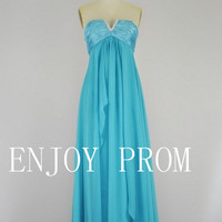 A-line Strapless Chiffon floor-Length Bridesmaid/Evening/Prom Dress