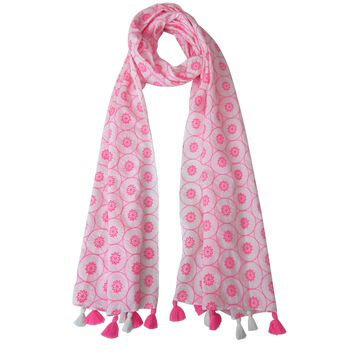 A Neon Pink Splash - White & Pink Fun Long Cotton Scarf