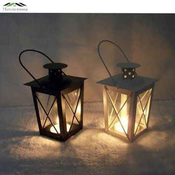 2PCS/LOT Metal Candle Holder Lantern Morocco Vintage Small Lantern