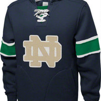 Notre Dame Fighting Irish Navy adidas Authentic Vintage College Vault Hooded Sweatshirt-Notre Dame Fighting Irish-NCAA- Gotta Go to Mo's