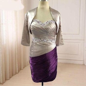 Mother of the Bride Dresses with Jacket Sweetheart Sleeveless Pleats Beading Evening Mother Gowns