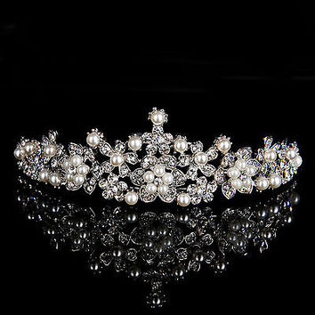 Bridal Jewelry Flower Prom Wedding Veil Crystal Rhinestone Pearl Crown Tiara