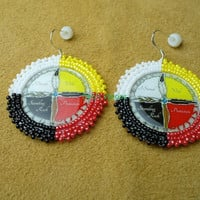 """Native American Style Rosette beaded """"I Stand with Standing Rock Protectors"""" earrings NODAPL"""
