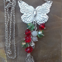 necklace butterfly with multi colored crystals sterling silver 925 gift for her gift for wife
