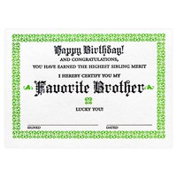 Favorite Brother Certificate Birthday Card