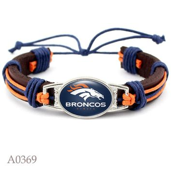 New Fashion Denver Broncos Football Team Leather Bracelet Adjustable Leather Cuff Bracelet For Man And Woman 10pcs/lot