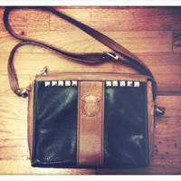 Vintage 1980's forest green purse with silver studs