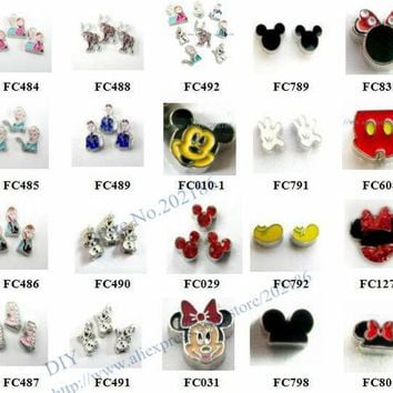 DCCKF4S Multiples options! 10pcs  alloy popular carton movie role charms -3 floating  charms for float memory living glass lockets
