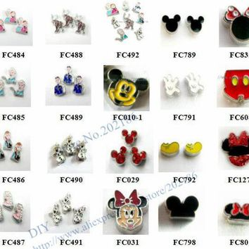 DKF4S Multiples options! 10pcs  alloy popular carton movie role charms -3 floating  charms for float memory living glass lockets