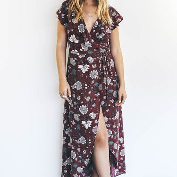 Love Letter Burgundy Ruffle Wrap Dress