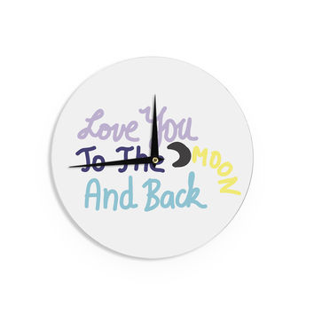 "Vasare Nar ""Love You To The Moon And Back"" Pastel Vector Wall Clock"