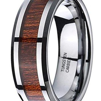 CERTIFIED 8mm Silver Tungsten Carbide Polished Beveled Edge Wood Inlay Wedding Band